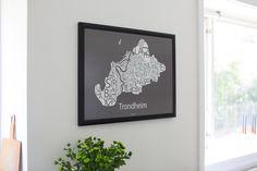 Typografisk kart av Trondheim.