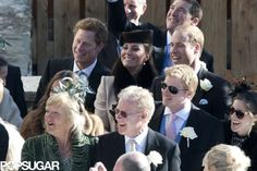 Kate Middleton Shows Her Bump at a Snowy Swiss Wedding With William and Harry: Kate Middleton arrived at a friend's wedding.   : Kate Middleton and Prince Harry arrived at the church together.