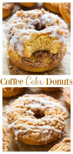Coffee Cake Donuts with Vanilla Glaze – Baker by Nature Coffee Cake Donuts are baked, not fried, and ready FAST! Covered in vanilla glaze… these are so good with a cup of coffee! Gourmet Recipes, Baking Recipes, Cake Recipes, Dessert Recipes, Gourmet Donut Recipe, Fried Cake Donut Recipe, Pumpkin Cake Donut Recipe, Bake Goods Recipes, Keto Recipes