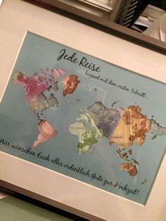 Geld liebevoll verpacken Landkarte