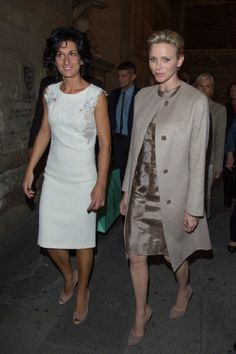 Agnese Renzi and princess Charlene of Monaco at Palazzo Vecchio on 10 Oct 2012 in Florence, Italy.