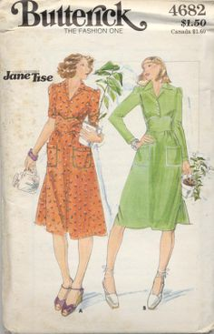 Vintage Pattern Butterick 4682 Jane Tise pattern by SewVintageCo, $14.00  Fitted bodice dress in two styles- 1970's fashion