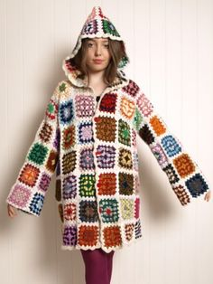 Vintage wool crochet granny square hooded jacket cardigan L XL - Kitsch Bitsch