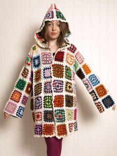 Vintage wool crochet granny square hooded jacket cardigan L XL - Kitsch Bitsch