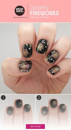 Make sparks fly with this festive fireworks nail art tutorial. #nail #design #art