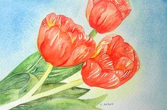 Items similar to Tulip Painting Original Watercolor 4 x 6 inches - Flower Painting For Sale on Etsy Red Tulips, Red Flowers, Spring Flowers, Tulip Painting, Floral Paintings, Watercolor Flowers, Watercolor Art, Paintings For Sale, Original Paintings