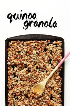 AMAZING Quinoa Granola with Oats & Almonds! Naturally sweetened, 7 ingredients, SO delicious! #vegan #glutenfree #breakfast #recipe #granola