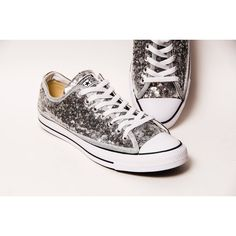 9cbcc698e Tiny Sequin Silver Canvas Converse All Star Low Top With Black Stripes... (