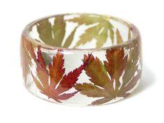 Leaf Jewelry Fall Leaves Bangle Yellow Leaf by ModernFlowerChild