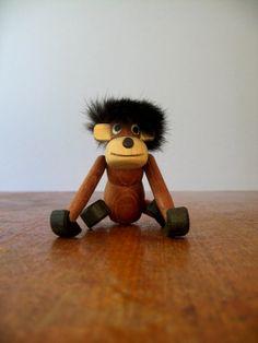 Mid Century Wooden Zoo Line Style Monkey / Ape Figurine by luola, $45.00