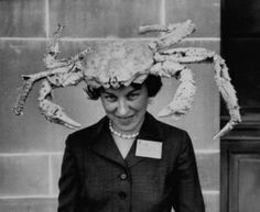 A woman wearing a crab hat at the League of Women Voter's Convention, Atlantic City, NJ, 1958.