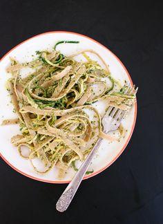Cilantro-pepita pesto with squash ribbons and fettuccine recipe