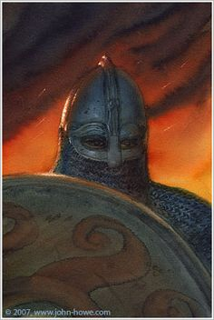 Beowulf Armed for Battle - John Howe Viking Warrior, Viking Art, Dying Of The Light, Beowulf, Les Themes, Norse Vikings, Jrr Tolkien, Anglo Saxon, Prehistory