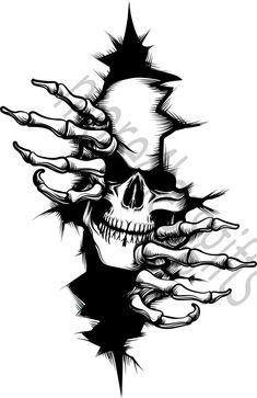 Cool Art Drawings, Art Drawings Sketches, Tattoo Drawings, Dark Drawings, Skull Tattoo Design, Skull Tattoos, Anime Tattoos, Art Tattoos, Skull Stencil