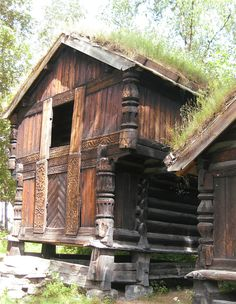 Farm buildings; Norsk Folkemuseum, Oslo.  this is the perfect shape for making a vardo/Roma wagon but norse.