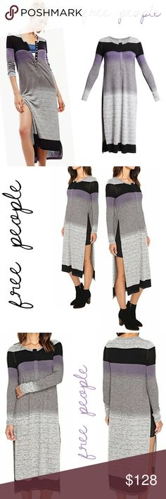 """free people = henley maxi dress / tunic Free People * maxi dress / tunic / sweater * grey gray black purple * marled ombre stripe pattern * lightweight semi-sheer soft comfortable fabric * henley style snap button placket * contrast stitching * round neckline * long sleeve * dramatic exaggerated high side slits * 35% cotton / 30% polyester / 30% viscose / 5% spandex * approx 48"""" length * brand new - ONLY 1  * spring * summer * modern * chic * neutral * layering * boho * festival * beach…"""