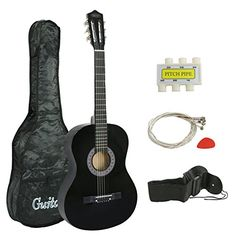 Zeny 38 New Beginners Acoustic Guitar With Guitar Case Strap Tuner and Pick Black -- You can find more details by visiting the image link. (Note:Amazon affiliate link)