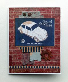 small card - tag - with car label, MFT bits; labels banners gear - Authentique paper pad - Durable collection