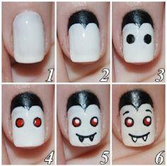 Uñas Vampiro, encuentra más diseños para Halloween aquí...http://www.1001consejos.com/unas-paso-paso-para-halloween/