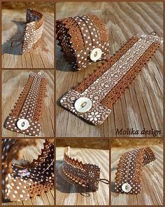 Fabric Cuff wearable on both sides - just an idea Lace Jewelry, Textile Jewelry, Fabric Jewelry, Leather Jewelry, Jewelry Crafts, Jewelery, Handmade Jewelry, Handmade Gifts, Fabric Bracelets