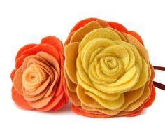 Hairband peach ombre felt roses by kwurkee on Etsy, £16.00