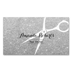 Modern Silver Sparkle Hair Stylist Double-Sided Standard Business Cards (Pack Of 100)