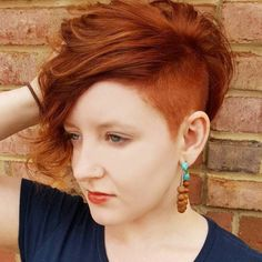 Red Pixie Bob With Side Undercut #ShortHairStyles