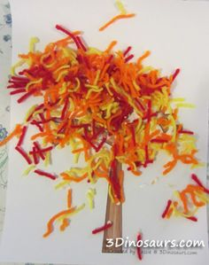 Fall crafts for kids - yarn trees