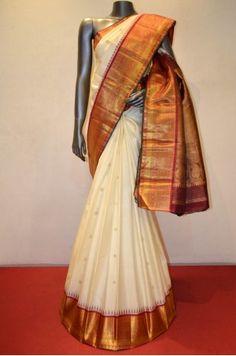 Bridal Cream Classic Wedding Kanjeevaram Silk Saree    Product Code: AC209867
