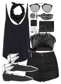 """""""Outfit with a scarf and shorts for summer"""" by ferned on Polyvore featuring Comme des Garçons, Topshop, Zara, Yves Saint Laurent, Christian Dior, Givenchy, Simply Vera, NARS Cosmetics, Office and women's clothing"""
