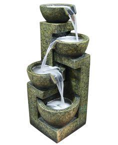 Fiberglass and Stone Three Tier Water Fountain