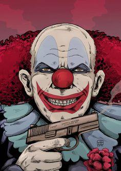 crazy killer clown by xilrion on DeviantArt Clown Horror, Creepy Clown, Clown Tattoo, Zombie Monster, Graffiti Tattoo, Clown Faces, Send In The Clowns, Evil Clowns, Chicano Art