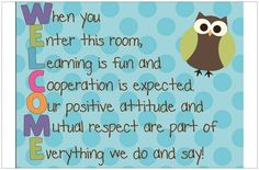 Welcome Poster from The Resource Room Teacher