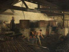 Workmen and Workwomen, by Philip Homan Miller c1870.  Shows workers tending the furnace under a salt pan.