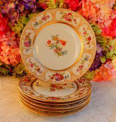 6 Vintage Limoges Porcelain Dinner Plates ~ Dresden Flower Pattern ~ Gold #Limoges