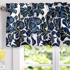 DriftAway Layla Classic America Style Floral Leaves Room Darkening Window Curtain Valance Rod Pocket Single 52 Inch by 18 Inch Plus 2 Inch Header Teal Gray