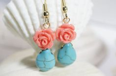 Coral Salmon Rose Earrings Turquoise Teardrop by Trendydeals, $18.00