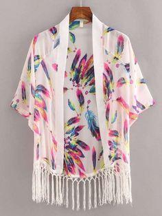 SheIn offers Macrame Fringe Feather Print Chiffon Kimono - White & more to fit your fashionable needs. Hijab Fashion, Teen Fashion, Boho Fashion, Fashion Dresses, Chiffon Kimono, Print Chiffon, Floral Kimono, Kimono Cardigan, Kimono Jacket