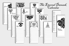 Damask Collection Printable Eternal Calendar and Address book. $3.50, via Etsy.