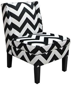 Chevron Black and White Zig Zag Wingback Accent Chair -
