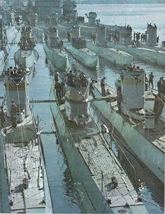 Flotilla of U-boats in color