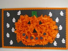made this pumpkin from tissue paper for her Halloween bulletin board- it totally rocks! October Bulletin Boards, Halloween Bulletin Boards, Preschool Bulletin Boards, Classroom Bulletin Boards, Primary Classroom, Classroom Resources, Halloween Classroom Door, Classroom Ideas, Monster Classroom