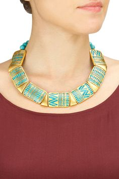 RIDHIMA BHASIN Dual sided turquoise stone necklace available only at Pernia's Pop-Up Shop.