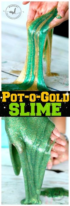 Slime Recipe - Pot-O-Gold : St. Patricks Day Slime Recipe for gorgeous glittery slime that sheets in sparklesPot-O-Gold : St. Patricks Day Slime Recipe for gorgeous glittery slime that sheets in sparkles Saint Patricks Day Art, St. Patricks Day, St Patricks Day Crafts For Kids, St Patrick's Day Crafts, Holiday Crafts, Holiday Ideas, Toddler Preschool, Toddler Crafts, Kids Crafts