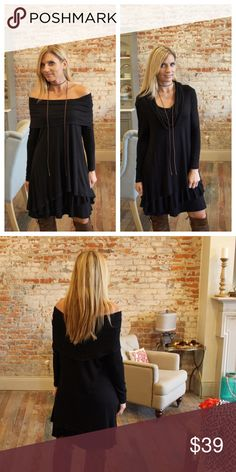 """Black tiered ruffle hem on/off the shoulder dress Can be worn off the shoulder or on the shoulder, very soft, heavy rayon. 95% rayon 5% spandex. Bust laying flat: S 19"""" M 20"""" L 21"""" length S 35"""" M 36"""" L 37"""". Add to bundle to save when purchasing two or more items from my closet. CH12780916 Dresses"""