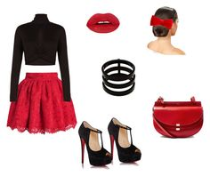 """""""Perfect red and black Christmas outfit"""" by courtneydodson on Polyvore featuring BCBGMAXAZRIA, Christian Louboutin, Chloé, claire's and Repossi"""