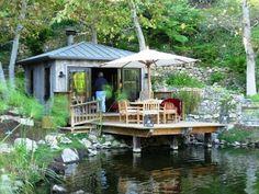 "Tiny elegant ""boathouse"" on a pond at Church Estates Vineyard in Malibu, CA."