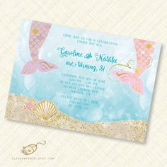 Mermaid Twins Invitation invite custom birthday party pink purple gold printable sea splash tail shell ocean digital download pdf jpeg diy by ClickPaperCo on Etsy https://www.etsy.com/uk/listing/397862817/mermaid-twins-invitation-invite-custom