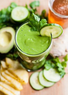 Spring Detox Smoothie With Green Tea, Cilantro, Kale, Cucumber, Pineapple, Lemon, Fresh Ginger, Avocado