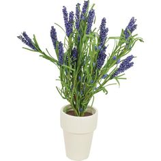 Create a lush tablescape or blooming vignette with this lovely faux lavender arrangement, nestled in a white pot.Product: Faux fl...